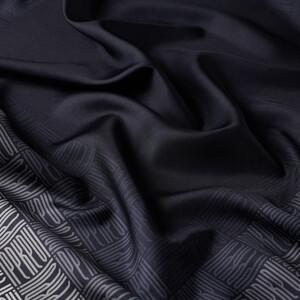 ipekevi - Qufi Pattern Lacivert Beyaz Tivil İpek Eşarp (1)
