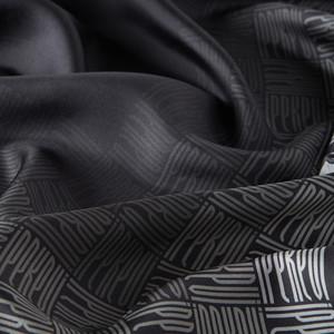 ipekevi - Qufi Pattern Siyah Beyaz Tivil İpek Eşarp (1)