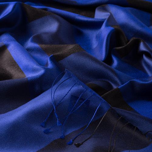 Saks Mavi İskoç Desenli İpek Şal