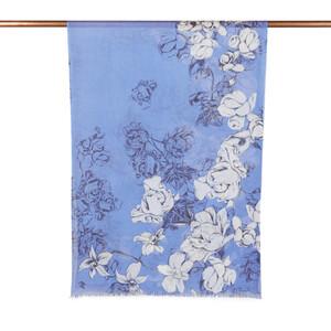 - Saks Mavi Kış Gülleri Desenli Şal (1)