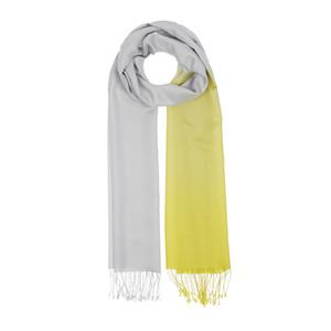 ipekevi - Sarı Beyaz Uç Degrade İpek Şal (1)