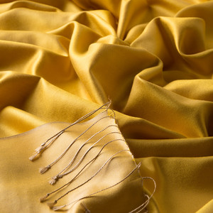 ipekevi - Sarı Çift Taraflı İpek Şal (1)