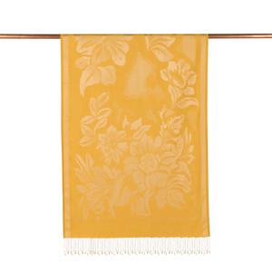 - Sarı Nev Bahçe Desenli İpek Şal (1)