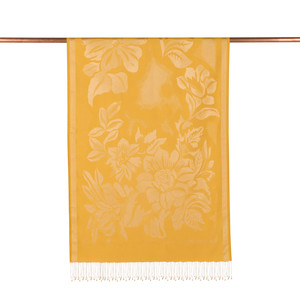 ipekevi - Sarı Nev Bahçe Desenli İpek Şal (1)
