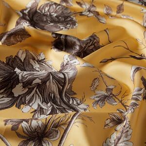 ipekevi - Sarı Vintage Garden Desenli Tivil İpek Eşarp (1)