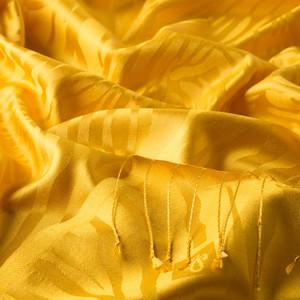 Sarı Zebra Jakar Desenli İpek Şal - Thumbnail