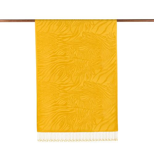 Sarı Zebra Jakar Desenli İpek Şal
