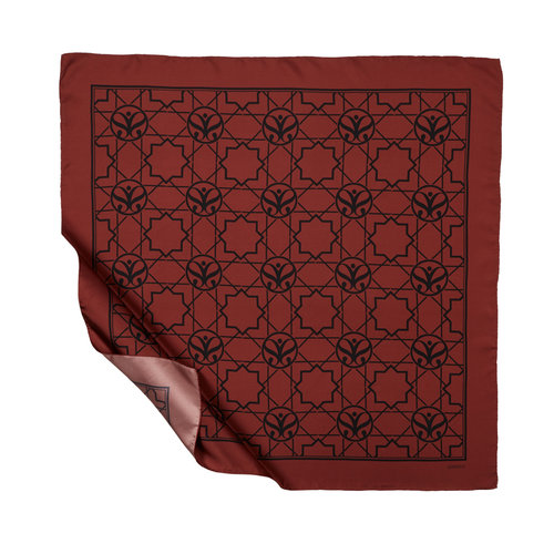 Seljuk Monogram Bordo Tivil İpek Eşarp