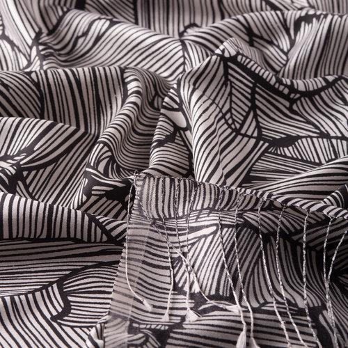 Siyah Ağaç Kabuğu Desenli İpek Şal