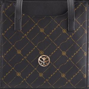 Siyah Altın Monogram Cep Detaylı Tote Çanta - Thumbnail