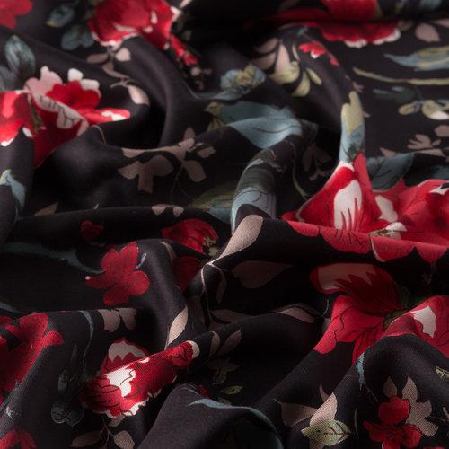 Siyah Asma Gül Desenli İpek Şal
