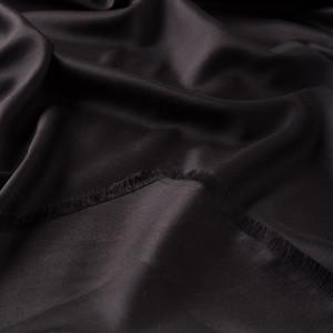 Siyah Çift Taraflı İpek Eşarp - Thumbnail