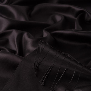 Siyah Çift Taraflı İpek Şal - Thumbnail
