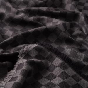 Siyah Dama Desenli Yün İpek Eşarp - Thumbnail