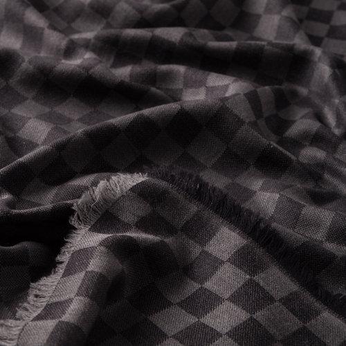Siyah Dama Desenli Yün İpek Eşarp
