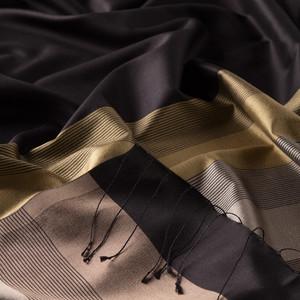 - Siyah Gold Elitist Çizgili İpek Şal (1)
