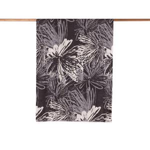 - Siyah Gölge Çiçeği Desenli Saten İpek Şal (1)