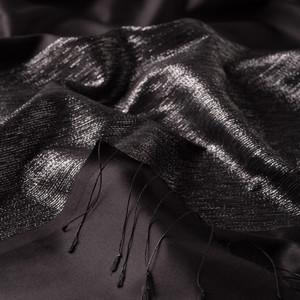 Siyah Gümüş Düşes Simli İpek Şal - Thumbnail