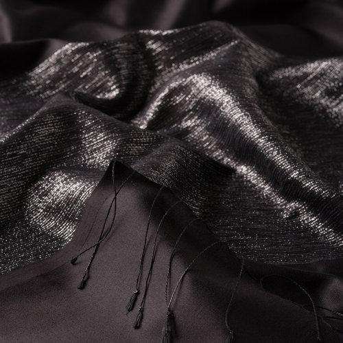 Siyah Gümüş Düşes Simli İpek Şal