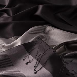 - Siyah Gümüş Elitist Çizgili İpek Şal (1)