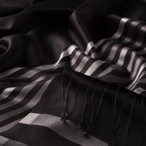 ipekevi - Siyah Gümüş İnce Meridyen Çizgili İpek Şal (1)