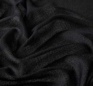 ipekevi - Siyah İkat Desenli Yün İpek Şal (1)