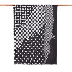 - Siyah Karma Geometri Desenli Şal (1)