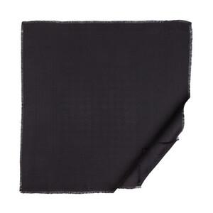 Siyah Kaz Ayağı Desenli Yün İpek Eşarp - Thumbnail