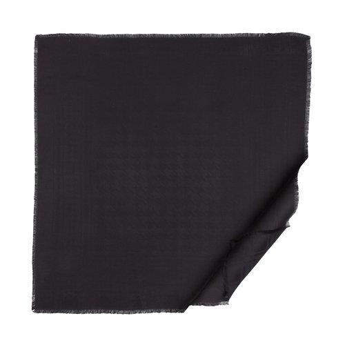 Siyah Kaz Ayağı Desenli Yün İpek Eşarp