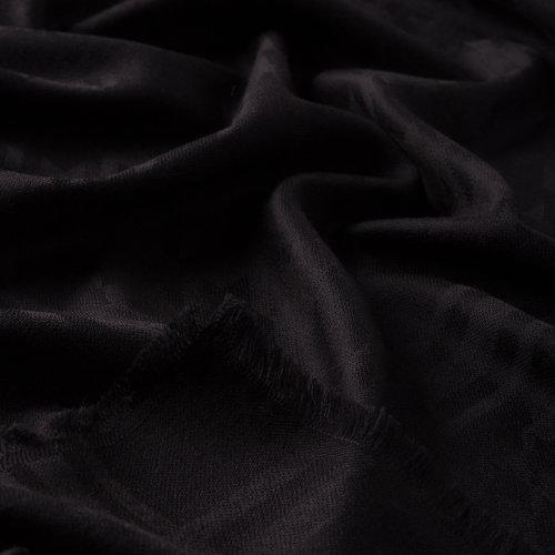 Siyah Kaz Ayağı Yün İpek Eşarp