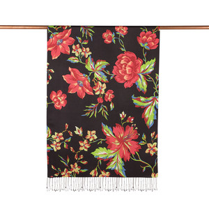 ipekevi - Siyah Kırmızı Gecenin Kraliçesi Desenli İpek Şal (1)