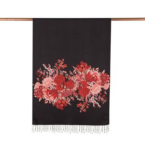 ipekevi - Siyah Kırmızı Saray Bahçesi Desenli İpek Şal (1)
