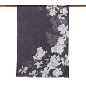 - Siyah Kış Gülleri Desenli Şal (1)