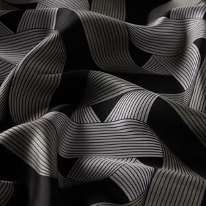 ipekevi - Siyah Kurdela Desenli Tivil İpek Eşarp (1)
