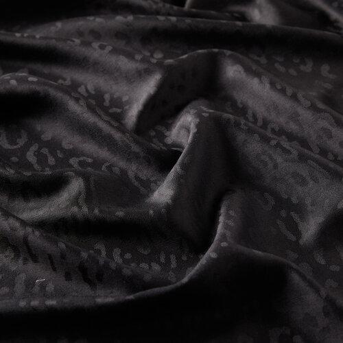 Siyah Leopar Jakar Desenli İpek Şal