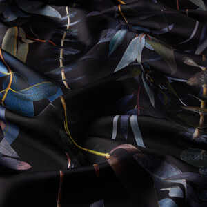 ipekevi - Siyah Okaliptus Desenli Tivil İpek Eşarp (1)