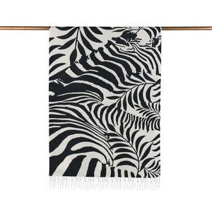 ipekevi - Siyah Palmiye Desenli İpek Şal (1)