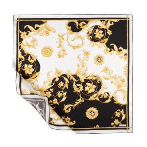 Siyah Rococo Tivil İpek Eşarp Model 01 - Thumbnail