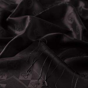 Siyah Semi Monogram Desenli İpek Şal - Thumbnail