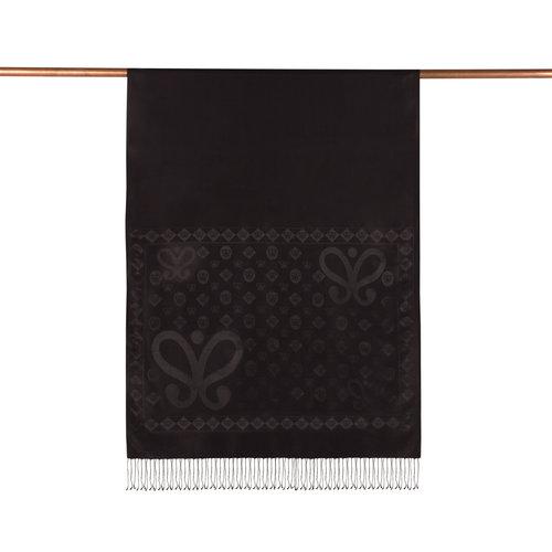 Siyah Semi Monogram Desenli İpek Şal