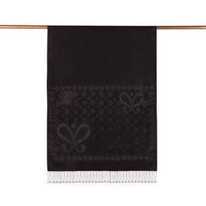 ipekevi - Siyah Semi Monogram Desenli İpek Şal (1)
