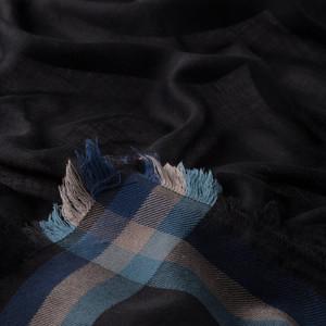 Siyah Tartan Bordür Desenli Yün İpek Eşarp - Thumbnail