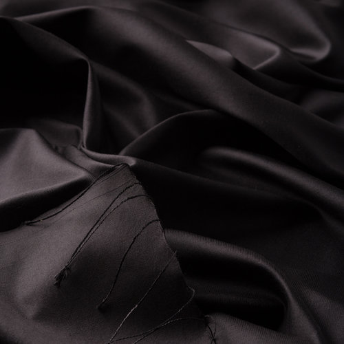 Siyah Tek Taraflı İpek Şal