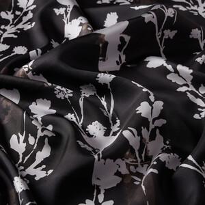 ipekevi - Siyah Vintage Silhouette Desenli Tivil İpek Eşarp (1)