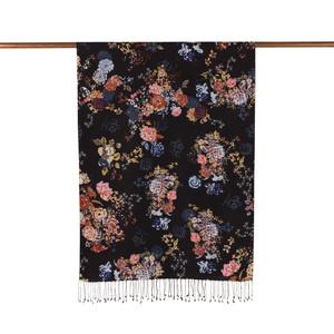 ipekevi - Siyah Yalı Bahçesi Desenli İpek Şal (1)