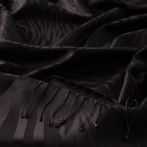 Siyah Zebra Jakar Desenli İpek Şal - Thumbnail