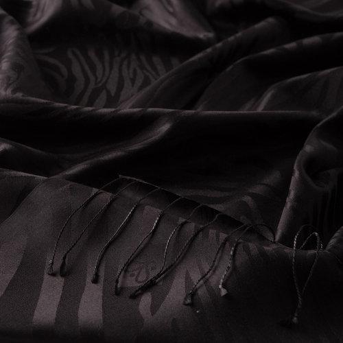 Siyah Zebra Jakar Desenli İpek Şal