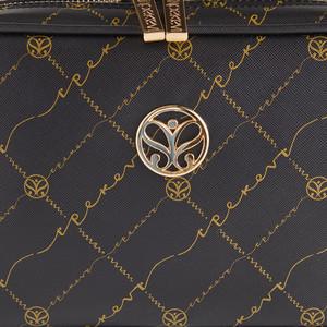 Siyah Altın Monogram Zincir Detaylı Çapraz Çanta - Thumbnail
