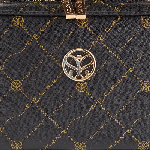 Siyah Altın Monogram Zincir Detaylı Çapraz Çanta