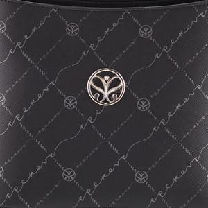 Siyah Gümüş Monogram Uzun Saplı Tote Çanta - Thumbnail